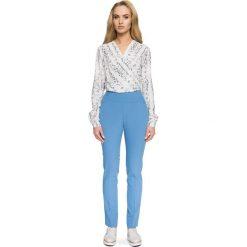 Spodnie z wysokim stanem: Niebieskie Spodnie w Kant z Wysokim Stanem