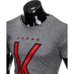 T-SHIRT MĘSKI Z NADRUKIEM S925 - GRAFITOWY. Szare t-shirty męskie z nadrukiem Ombre Clothing, m. Za 29,00 zł.