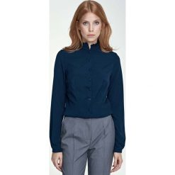 Bluzki damskie: Granatowa Bluzka Koszulowa ze Stójką