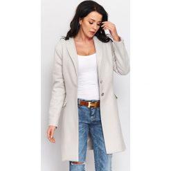 Wiosenny płaszcz flauszowy  r-p002. Szare płaszcze damskie pastelowe Butik, m, eleganckie. W wyprzedaży za 189,00 zł.
