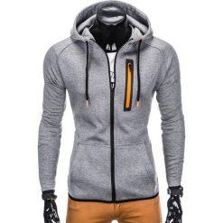 Bluzy męskie: BLUZA MĘSKA ROZPINANA Z KAPTUREM B747 – SZARA