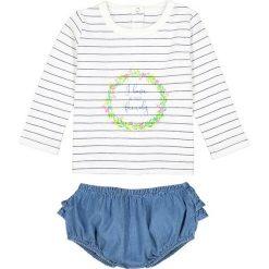 Niemowlęcy komplecik: T-shirt i krótkie spodenki 0 miesięcy - 3 latka. Niebieskie spodenki dziewczęce marki La Redoute Collections, w paski, z bawełny. Za 88,16 zł.