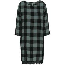 Sukienka z koronką bonprix czarno-zielony eukaliptus w kratę. Czarne sukienki koronkowe marki bonprix, w koronkowe wzory. Za 109,99 zł.