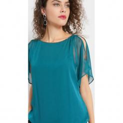 Bombkowa bluzka z szyfonu. Niebieskie bluzki nietoperze marki Orsay, xs, z dzianiny. Za 79,99 zł.