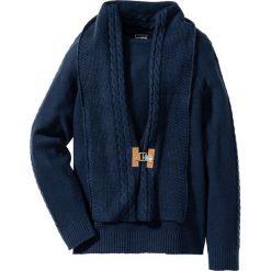 Sweter z szalikiem Slim Fit bonprix ciemnoniebieski. Niebieskie swetry klasyczne męskie marki bonprix, m, z dzianiny. Za 74,99 zł.