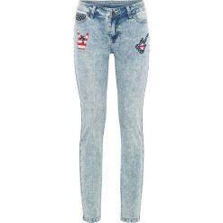 """Dżinsy SKINNY z nadrukiem bonprix niebieski """"bleached moonwashed"""". Niebieskie jeansy damskie bonprix, z nadrukiem, z jeansu. Za 54,99 zł."""