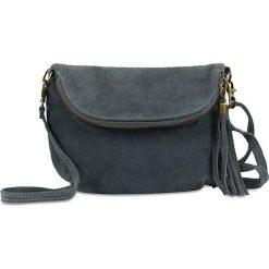 Torebki klasyczne damskie: Skórzana torebka w kolorze szarym – 22 x 18 x 3,2 cm