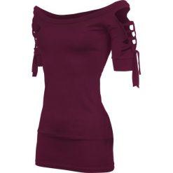 Outer Vision Kork Koszulka damska bordowy. Czerwone bluzki z odkrytymi ramionami Outer Vision, l, eleganckie, z dekoltem na plecach, z krótkim rękawem. Za 99,90 zł.