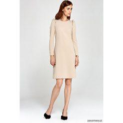 Sukienki: Sukienka z falbankami na ramionach s89 – beż