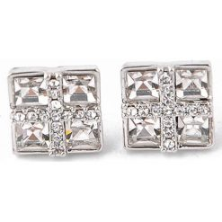 Kolczyki damskie: Pozłacane kolczyki-wkrętki z kryształami Swarovski