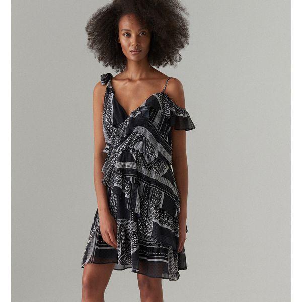 f4dad849fcd138 Asymetryczna sukienka z falbaną - Czarny - Czarne sukienki damskie ...