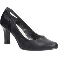 Czarne czółenka na słupku z wycięciem na pięcie Casu 3069. Czerwone buty ślubne damskie marki Casu, na słupku. Za 78,99 zł.