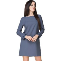 Niebieska Sukienka z Falbanką przy Rękawie. Niebieskie sukienki balowe Molly.pl, do pracy, l, z tkaniny, z falbankami, dopasowane. Za 159,00 zł.