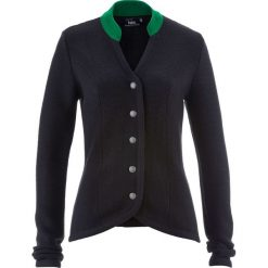 Sweter rozpinany ludowy ze stójką w kontrastowym kolorze bonprix czarno-zielony. Szare golfy damskie marki Reserved, l. Za 109,99 zł.
