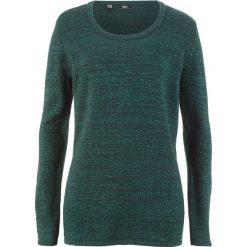 Sweter z długim rękawem bonprix głęboki zielony melanż. Zielone swetry klasyczne damskie bonprix. Za 74,99 zł.