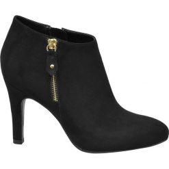 Botki damskie Graceland czarne. Czarne botki damskie na obcasie marki Graceland, w kolorowe wzory, z materiału. Za 99,90 zł.