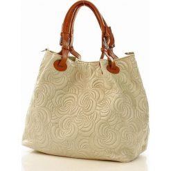 Kuferki damskie: Skórzana torebka shopper MAZZINI – LINDA beżowa