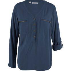 Bluzka z wiskozy, długi rękaw bonprix ciemnoniebieski. Niebieskie bluzki longsleeves marki bonprix, z nadrukiem. Za 74,99 zł.