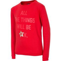 Bluza dla małych dziewczynek JBLD112 - czerwony. Czerwone bluzy dziewczęce rozpinane 4F JUNIOR, na lato, z nadrukiem, z bawełny. Za 19,99 zł.