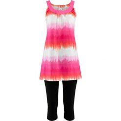 Sukienka + legginsy rybaczki (2 części) bonprix jasnoróżowo-biały z nadrukiem + czarny. Białe legginsy we wzory marki bonprix. Za 74,99 zł.