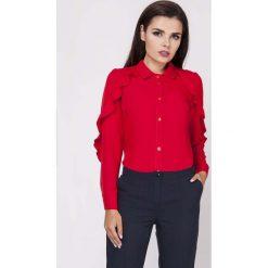 Koszule body: Czerwona Ponadczasowa Koszula z Falbankami