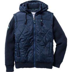 Kurtka z rękawami z dzianiny Regular Fit bonprix ciemnoniebieski. Niebieskie kurtki męskie pikowane marki bonprix, m, z aplikacjami, z dzianiny. Za 189,99 zł.