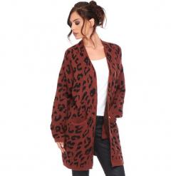 """Kardigan """"Leopard"""" w kolorze czerwonobrązowym. Brązowe kardigany damskie marki Cosy Winter, s, z motywem zwierzęcym. W wyprzedaży za 181,95 zł."""