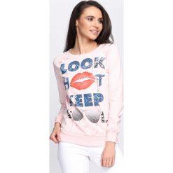 Bluzy damskie: Różowa Bluza Look Hot
