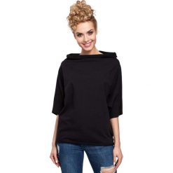 Czarna Bluzka Dresowa z Wywijanym Kołnierzem. Czarne bluzki nietoperze marki Molly.pl, l, z dresówki, z golfem, z krótkim rękawem. Za 85,90 zł.