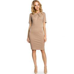 Sukienki: Cappuccino Elagancka Sukienka z Zakładkami przy Dekolcie