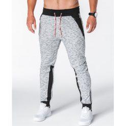 SPODNIE MĘSKIE DRESOWE P640 - SZARE. Szare spodnie dresowe męskie Ombre Clothing, z bawełny. Za 49,00 zł.