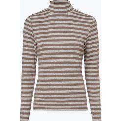 Franco Callegari - Damska koszulka z długim rękawem, beżowy. Brązowe t-shirty damskie Franco Callegari, w paski, ze stójką. Za 99,95 zł.