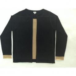 Sweter kaszmirowy 2w1 w kolorze czarno-beżowym. Brązowe kardigany damskie marki Ateliers de la Maille, z kaszmiru. W wyprzedaży za 591,95 zł.