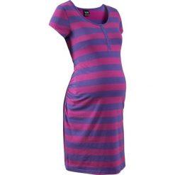 Koszula nocna do karmienia bonprix fioletowo-lila w paski. Fioletowe bielizna ciążowa bonprix, w paski, z bawełny, moda ciążowa. Za 54,99 zł.