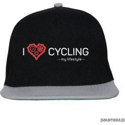 Czapka FullCap. I love cycling - my lifestyle. Czarne czapki z daszkiem damskie Pakamera, z nadrukiem. Za 69,00 zł.