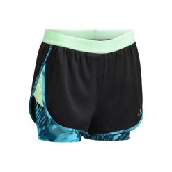 Spodenki 2 w 1 fitness kardio 520 damskie. Czarne spodenki sportowe męskie marki DOMYOS, z elastanu. W wyprzedaży za 39,99 zł.