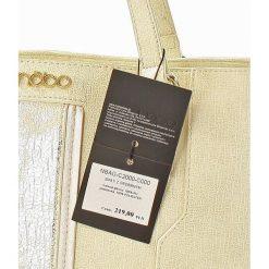Shopper bag damskie: Elegancki shopper bag biały ze srebrnym