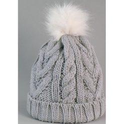 Czapka damska i biały króliczy pompon szara (cz2505). Białe czapki zimowe damskie marki Art of Polo. Za 36,52 zł.