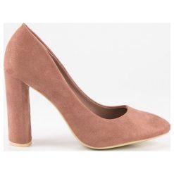 Buty ślubne damskie: Merg zamszowe czółenka na słupku różowe