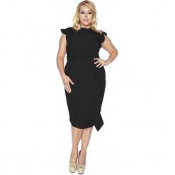 Stylowa Czarna Sukienka z Falbanką PLUS SIZE. Białe sukienki balowe marki bonprix, na ślub cywilny, z wełny, moda ciążowa. W wyprzedaży za 139,30 zł.