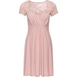 Sukienka z dżerseju z koronką bonprix stary jasnoróżowy. Czerwone sukienki hiszpanki bonprix, w koronkowe wzory, z dżerseju, retro. Za 99,99 zł.