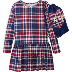 Sukienki dziewczęce: Sukienka w kratę + worek na sport bonprix kobaltowo-czerwony w kratę