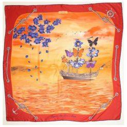 Chusty damskie: Versace 19.69 Chusta Damska Czerwony Feel Butterflies