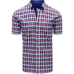 Koszule męskie na spinki: Granatowo-czerwona koszula męska w kratę (kx0843)