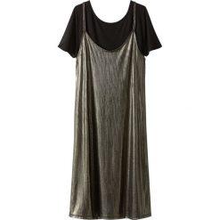 Sukienka z błyszczącą nitką 2 w 1 z koszulką pod spodem. Szare sukienki mini marki La Redoute Collections, m, z bawełny, z kapturem. Za 113,36 zł.
