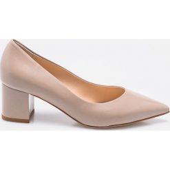Solo Femme - Czółenka. Szare buty ślubne damskie marki Kazar, ze skóry, na wysokim obcasie, na obcasie. W wyprzedaży za 219,90 zł.