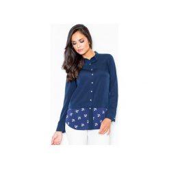 Koszula M385 Granat. Niebieskie koszule wiązane damskie FIGL, m, z materiału, klasyczne, z klasycznym kołnierzykiem, z długim rękawem. Za 99,00 zł.