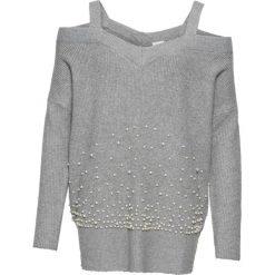 Sweter z perełkami i wycięciami bonprix jasnoszary melanż. Niebieskie swetry klasyczne damskie marki bonprix, na lato, w kwiaty, z asymetrycznym kołnierzem. Za 99,99 zł.