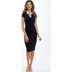 Czarna sukienka sportowa z białym kołnierzykiem 5227. Białe sukienki Fasardi, s, sportowe, sportowe. Za 69,00 zł.