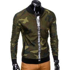 BLUZA MĘSKA ROZPINANA BEZ KAPTURA B739 - ZIELONA/MORO. Zielone bluzy męskie rozpinane marki Ombre Clothing, m, moro, z bawełny, bez kaptura. Za 69,00 zł.